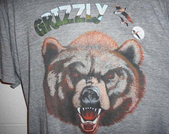 Vintage bear shirts etsy vintage 80s grizzly bear wilderness outdoors tri blend t shirt xl thin soft publicscrutiny Gallery