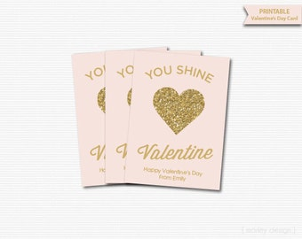 Gold Glitter Kids Valentines Cards Printable Valentines Classroom Cards Valentine's Gift Tags Favor Tags Kids Personalized Shine Blush Pink