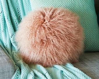 Mongolian Sheepskin cushion - Round - TUSCAN PINK