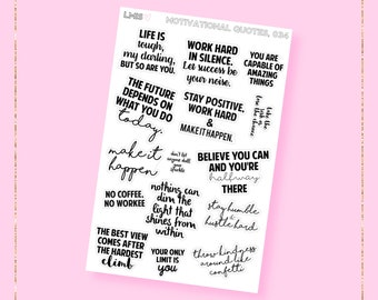 Motivational Quote Planner Stickers // 034 // Black and White Quote Stickers, Quote Planner Stickers, Planner Quotes