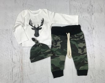 Newborn Boy Camo Take Home Outfit, Baby Boy Camo Deer Coming Home Outfit, Boy Deer Camo Outfit, Camo jogger, beanie, and deer onesie