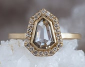 Geometric Rose Cut Diamond Engagement Ring with Pave Diamond Halo