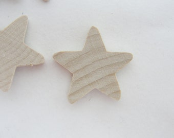 "6 Traditional wooden stars 1 inch (1"") 1/8"" thick unfinished DIY"