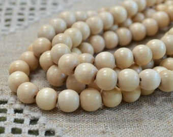 100pcs 8mm Tan Wood Natural Beads Round Macrame Bead