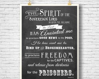 Bible Verse, Scripture art, Scripture printable, Printable,  Isaiah 61, Chalkboard, Wall decor printable, instant download
