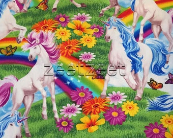 "1.3 Yards Rare UNICORNS & RAINBOWS Quilt Fabric Mythical Creatures Children Kids Rainbows Butterflies Flowers - 1 Yd and 13"" Last Remnant"