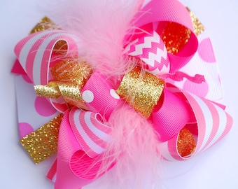 boutique hot PINK and GOLD BIRTHDAY funky fun bow on clip or headband