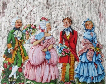 Vintage Germany Paper Lithographed Die Cut Scraps Marie Antoinette Couples Out Of Print  EAS 3095