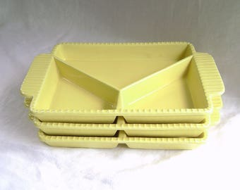 Vintage Yellow Divided Dishes, Serving Dishes, High Sided Dish, Special Needs Dish, Golden Yellow, Mid Century, Ceramic Dishes, Made in USA