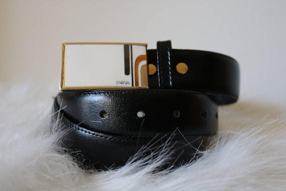 70s Vintage Belt | dark brown leather gold inlay geometric retro 1970s unisex mens dress belt with buckle 32 34 36
