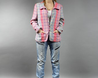 Vintage 90s Pastel Pink Blue Wool Blend Duster, Oversized Plaid Jacket, Hipster Colorful Checkered Blazer Midi Extravagant Coat . Large L