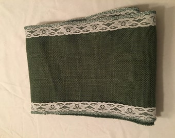 "7"" Green Burlap Ribbon w/ White Floral Lace - 2 yd"