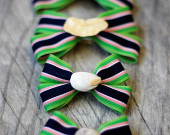 Navy, Lime, Pink and White Seashell Hair Bow