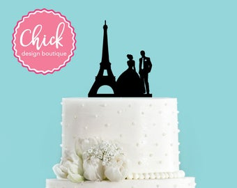 Paris Couple with Eiffel Tower, French Wedding Acrylic Wedding Cake Topper