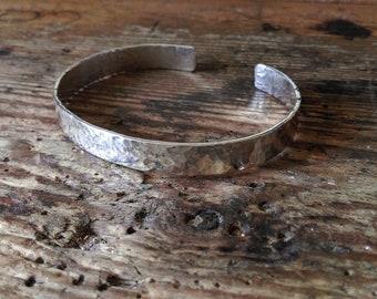 Bracelet Sterling silver hammered surface