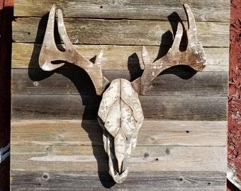 Faux Deer Antlers/ Reclaimed wood/ Rustic wall decor/ Rustic Home Decor/ Wood Deer Decor/ Reclaimed Wood Wall Art/ Reclaimed Wood Wall Decor