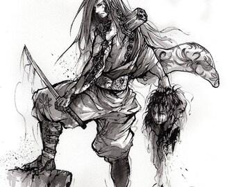 Tenjoshi - Print 8x10 Steampunk Samurai Marionette Warrior