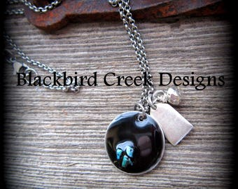 Handmade Turquoise Pebble Necklace, Custom Initial Tag, Silver Bead,  Black Jewelry, Gift for her, Rustic Necklace