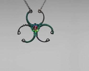 Green Swarovski Crystal Pendant, Industrial Jewelry, Swarovski Necklace, Biohazard Pendant, Industrial Pendant, Biohazard Green v5
