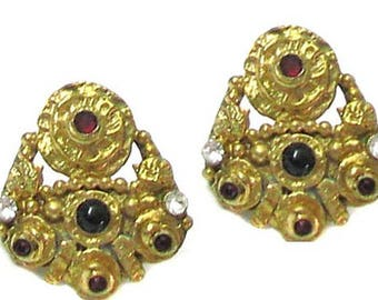 Vintage HENRY carved metal byzantine neo from the 50's earrings