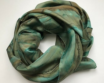 Teal Brown Silk Scarf -  Hand Dyed Silk Scarf - Square Scarf - Green Scarf - Brown Scarf - Gift for Mom - Women Accessory - Capsule Wardrobe