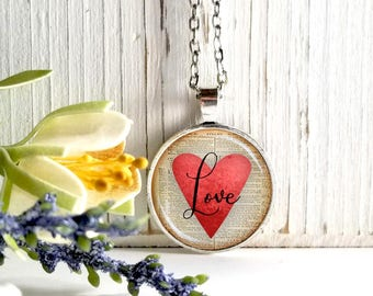 Round Medium Glass Bubble Pendant Necklace-Script Love On Red Heart Book Page