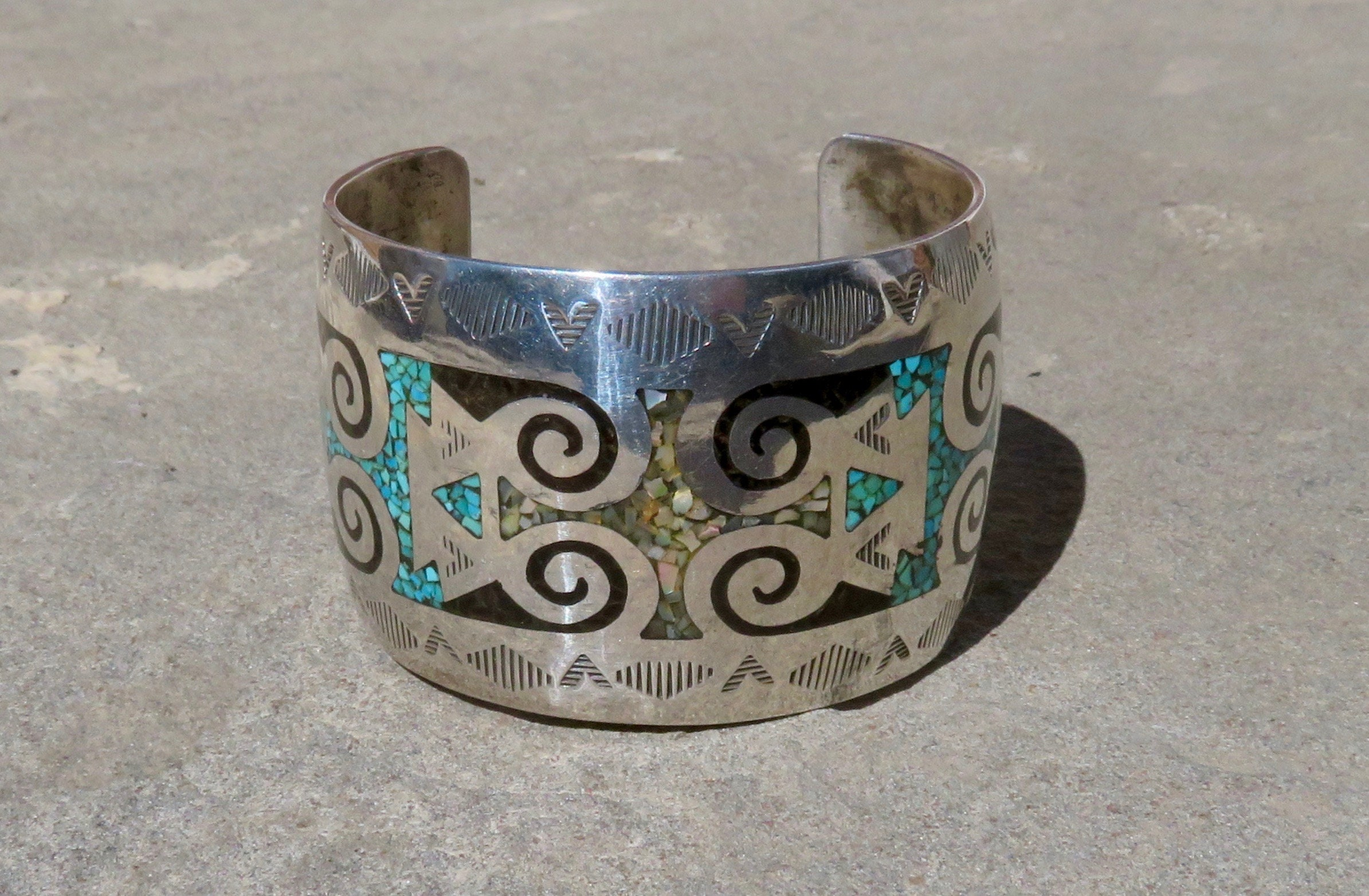 product mike sterling cuff signed jewellery jewelry american thompson concho native bracelet silver