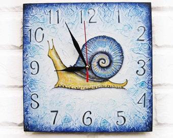 Blue Snail Wall Clock, OOAK Home Decor for Children Baby Kid Boy Girl Nursery Playroom, wall clocks handmade