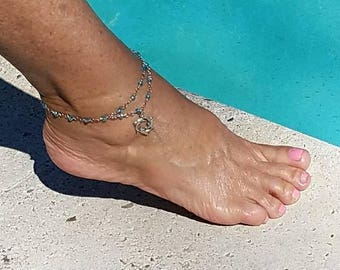 Circle of Dolphins Anklet in light blue crystal wire-wrapped bead chain.