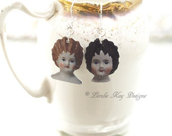 A Study in Dolls Mismatched Earrings Frozen Charlotte Antique Doll Images Earrings Pretty China Doll Heads Lorelie Kay Original