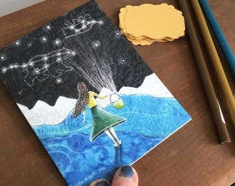blank card, big dipper, constellations, stars night, stationary, Gathering the Night, illustrated card, rustic summer, glossy finish