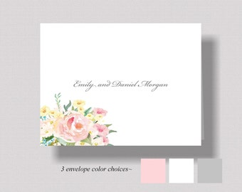 PERSONALIZED WEDDING Thank You Cards|Watercolor Floral Thank You Notecards|Boxed Set of 10|Bridal Shower Thank You Cards|Womens Stationery