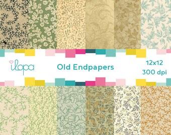 Digital Old Pattern Paper Vine Endpaper 300 dpi 12x12