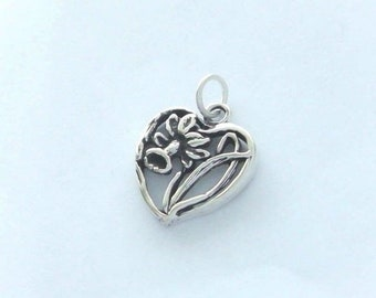 Sterling Silver Daffodil Flower Charm, Heart Charm, Made in USA