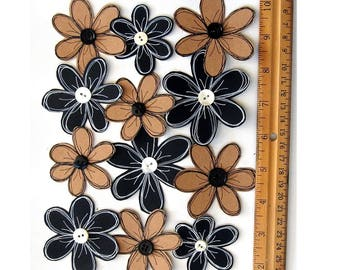 Flowers, Black Flowers, Kraft Flowers, Hand made Flowers, Button Centers, Hand Drawn Flowers, Scrapbook Embellishments, Craft Flowers