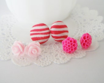 SALE Pink Floral Stud Trio