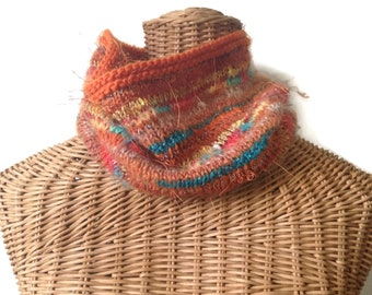 Knit Orange Cowl Rust Wool Scarf Textured Neck Warmer Hand Knit Cowl Blended Yarns Boutique Scarf