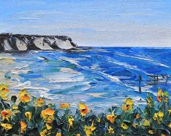 Beach Art, Pacific Ocean, Beach Decor, Landscape Painting, Coastal Art, California Landscape, Coastal Decor, 8x10, California, Seascape Art