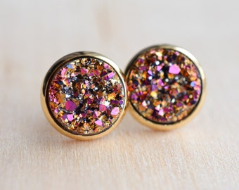 Rainbow Sparkle Druzy Earrings - Rose Gold Druzy Earrings - Magenta Druzy Earrings - Druzy Post Earrings - Brown Druzy - Bridesmaids Gifts