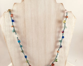 Hand Crocheted Beaded Necklace.  One Only