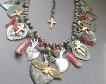 Sacred Heart Turquroise Milagro Necklace.. Anhk- Coral
