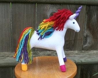 Rainbow Magic Unicorn Fantasy Plush ~ Eco Friendly Stuffed Animal, White Unicorn, Lisa Frank, Rainbow Unicorn Plushy, Stuffed Unicorns