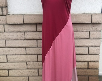 Vintage 70s Grecian Drape Color Block Maxi Dress & Shawl by Toni Todd Size M-L