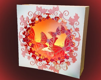 Floral Butterfly Greetings  box card template