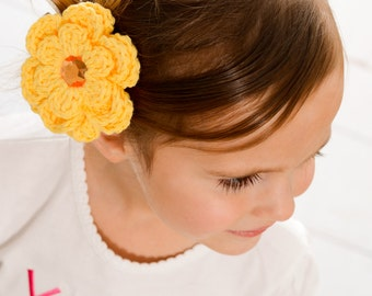 Yellow Hair Clip Crochet Flower Hair Clip Crochet Barrette Sunshine Yellow Flower Barrette Yellow Barrette Spring Hair Clip Summer Hair Clip