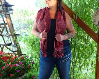 Handwoven/Handspun  Scarf/Shawl in Red and Pink Plaid Wool and Mohair