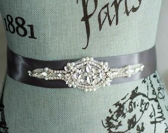 Wedding Sash Belt, Pearl Crystal Sash, Rhinestone wedding sash, Bridal Belt, Satin Ribbon Wedding Sash, Bridesmaid Sash/Belt, Silver Sash