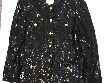 Amazing Vintage 80s 1985 Jeanette St Martin Glam Evening Jacket Blazer Black Sequins Gold Buttons Womens Medium