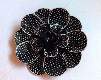Vintage enamel flower brooch or pin polka dot two tone layered dimensional black and white