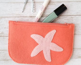 Zip Wallet. Ladies Wallet. Small Zipper Wallet. Coral Pouch. Felt Starfish Wallet. Credit Card Wallet. Slim Wallet. Zipper Pouch. id Wallet